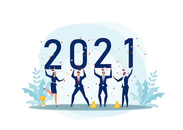 2021 feliz ano novo empresarial. equipe feliz comemorando o nee ano.