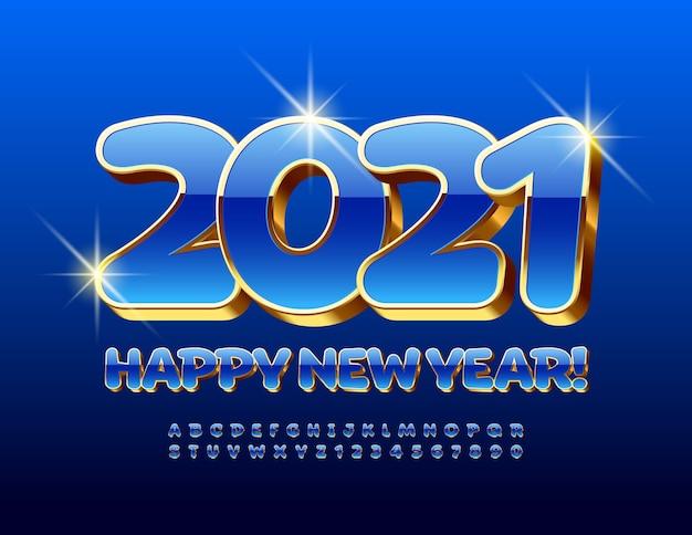 2021 feliz ano novo. fonte 3d em maiúsculas. letras e números do alfabeto azul e dourado de luxo