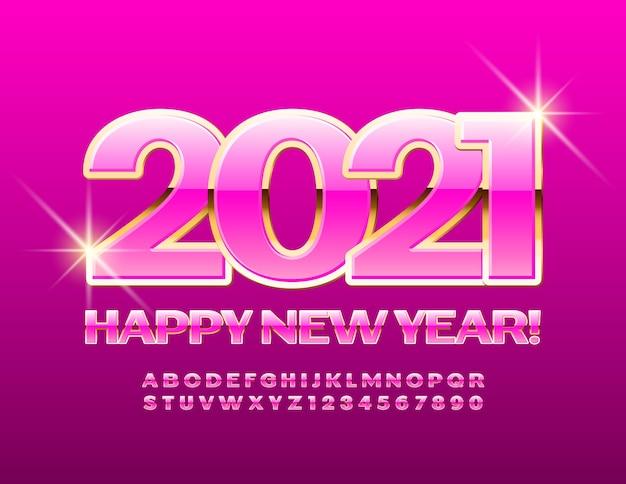 2021 feliz ano novo. fonte chique rosa e ouro. conjunto elegante de letras e números do alfabeto