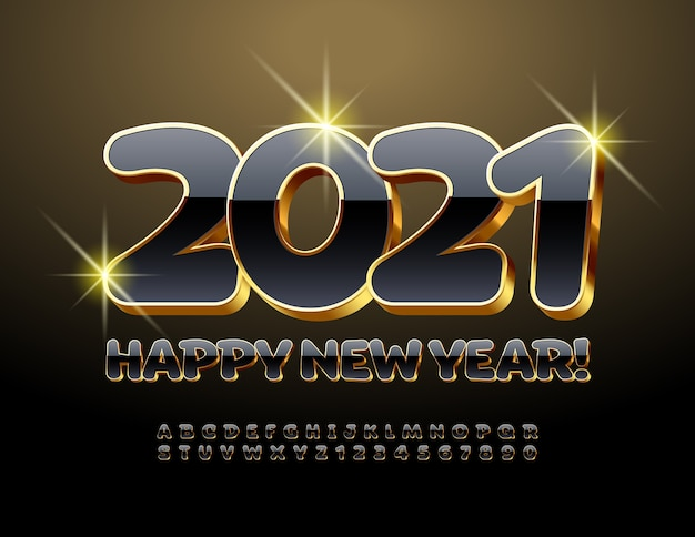 2021 feliz ano novo. fonte de luxo 3d. letras e números do alfabeto preto e dourado