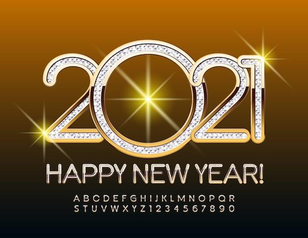 2021 feliz ano novo fonte ouro e prata texturizada conjunto de letras e números do alfabeto em estilo elegante