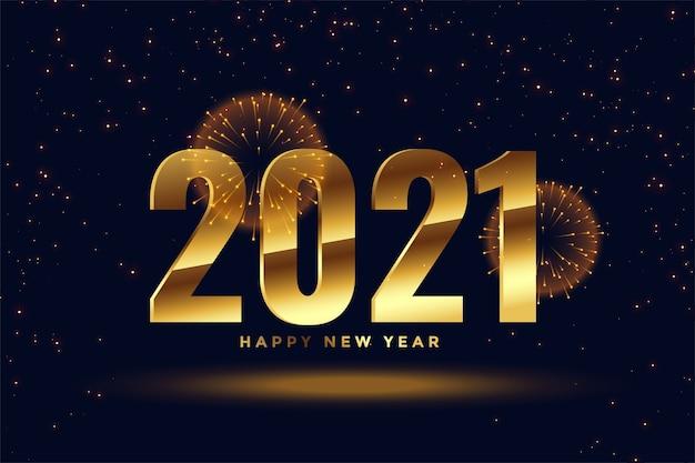 2021 feliz ano novo fundo de fogos de artifício de celebração dourada