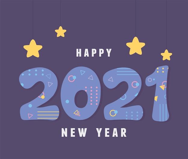 2021 feliz ano novo, ilustração da decoração de memphis do estilo retro do cartão
