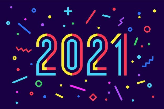 2021, feliz ano novo. inscrição de saudação. estilo brilhante geométrico de memphis