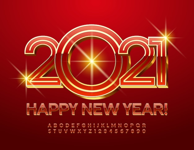 2021 feliz ano novo. números e letras elegantes do alfabeto. fonte vermelha e dourada de luxo.