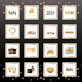 2021 feliz ano novo projeto de coleção de ícones de estilo detalhado, boas-vindas, celebrar e saudar