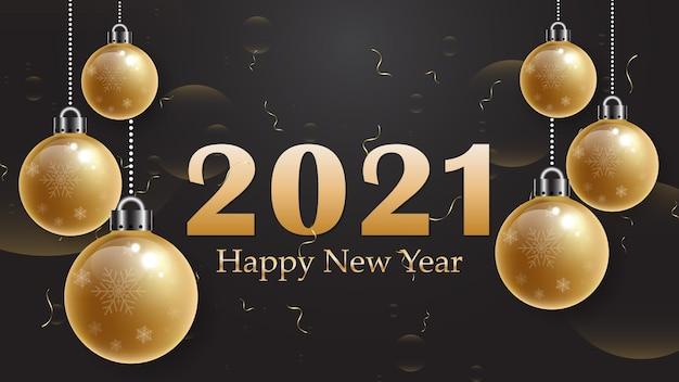 2021 feliz ano novo. texto elegante em ouro no fundo.