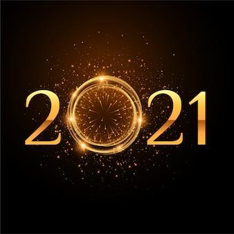 2021 festa de celebração do ano novo fundo de brilhos dourados