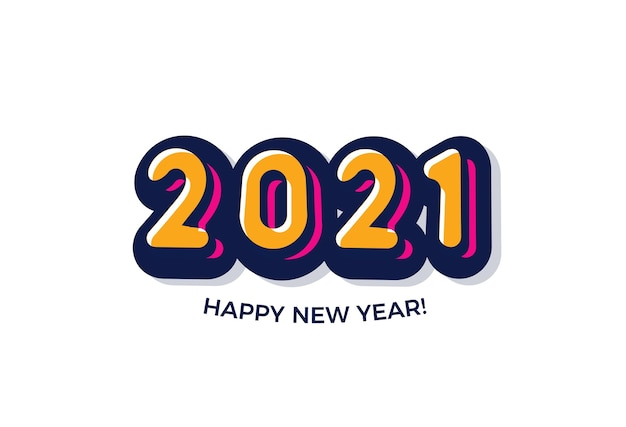 2021 fundo de feliz ano novo. logotipo do estilo de quadrinhos.