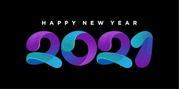 2021 ilustração colorida de feliz ano novo