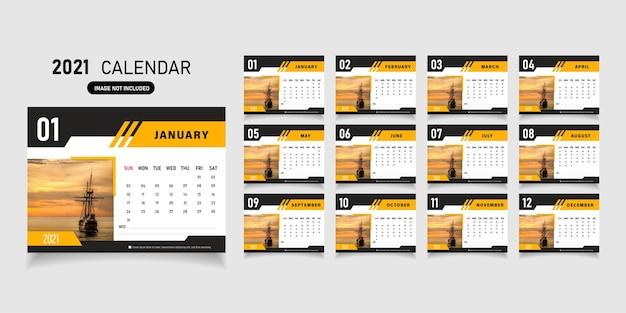 2021 modelo de design de calendário.