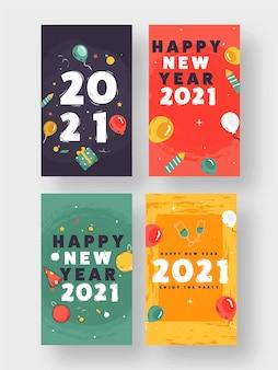 2021 modelo ou design de folheto de feliz ano novo em quatro opções de cores