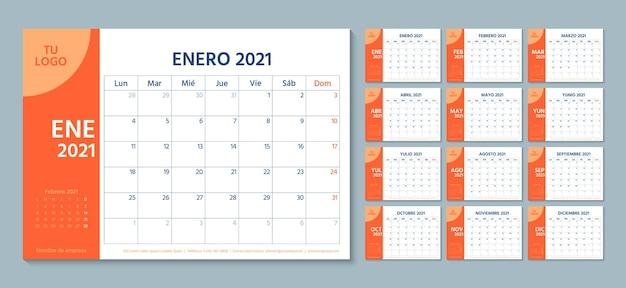 2021 planejador espanhol. modelo de calendário. a semana começa na segunda. organizador anual de artigos de papelaria.