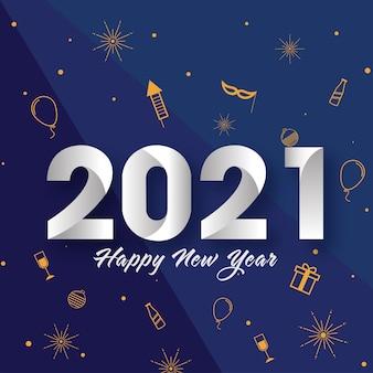 2021 texto de feliz ano novo com ícones de festa decorados em fundo azul