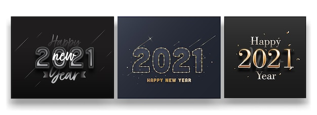 2021 texto de feliz ano novo em fundo preto e cinza em três opções