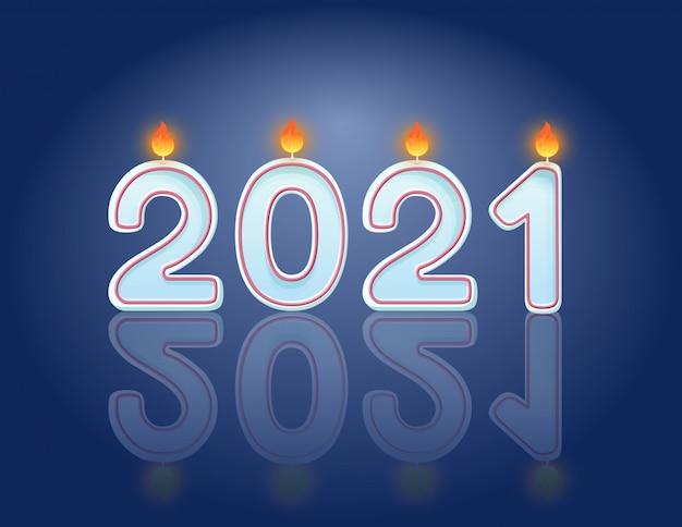 2021 velas conceito de design de cartão postal horizontal de celebração de ano novo. velas ardentes festivas