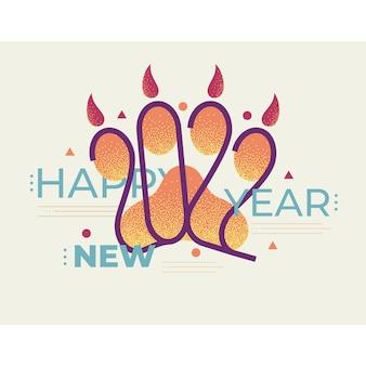 2022 ano da pegada da pata do tigre tigres com os números e a inscrição feliz ano novo