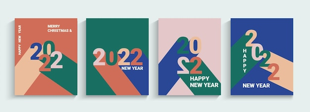 2022 ano novo, conjunto de banners de saudação, panfletos. números com sombras de cores muito diferentes. cartazes de coleção, cartões em estilo geométrico simples. modelos de design para capa, mídia social, folheto, cabeçalho. vetor.