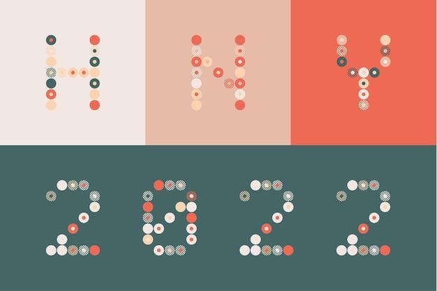 2022 ano novo diverso sinal incomum para 2022 decoração de eventos, gráfico bonito, conceito de emblema criativo para banner, folheto, panfleto, calendário, cartão de felicitações, convite de evento. logotipo de vetor isolado.