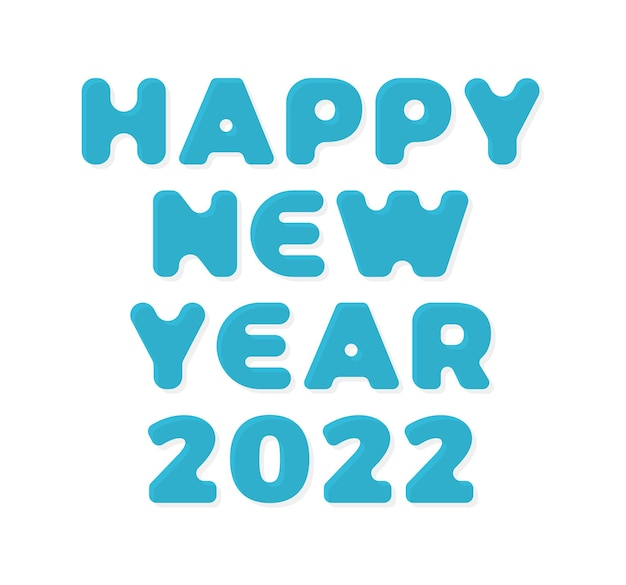 2022 ano novo. ilustração em vetor cartão elegante 3d em fundo branco. feliz ano novo 2022. fonte geométrica na moda.