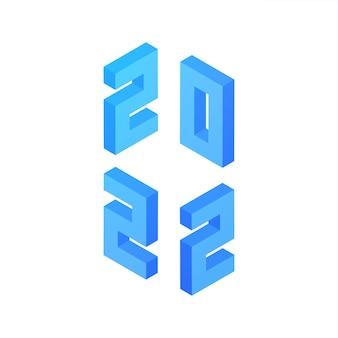 2022 ano novo. ilustração em vetor de isometria de sinal de números.