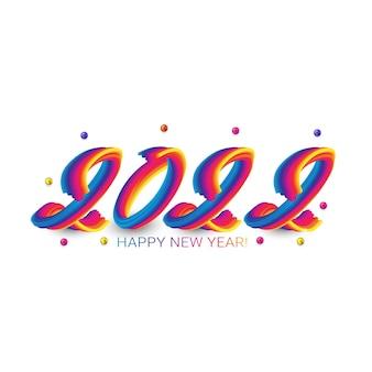 2022 ano novo. números fluidos coloridos com acidente vascular cerebral. ilustração de ano novo. letras coloridas de pincelada ou tinta acrílica
