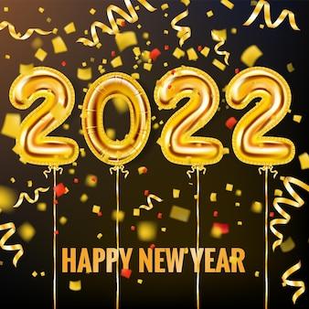 2022 balões de ouro de feliz ano novo, numerais de folha de ouro com faixa de cartaz de fitas de confete