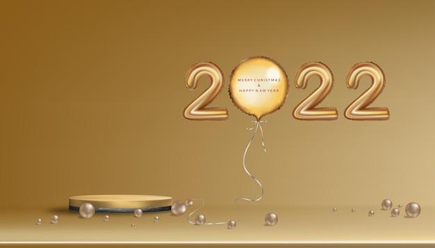 2022 balões dourados com feliz natal, carta de ano novo, 3d xmas compositio