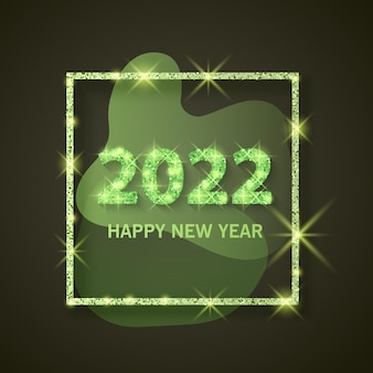 2022 banner de saudação de feliz ano novo de ano novo de 2022 com textura brilhante e glitter