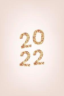 2022 bem-vindo texto glitter dourado, tipografia estética de lantejoulas de ano novo em vetor de fundo rosa