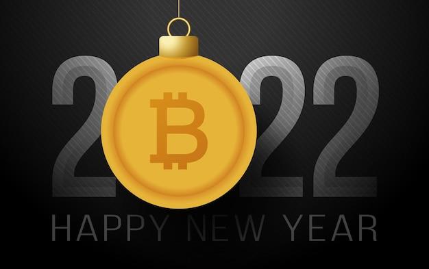 2022 bugiganga de bitcoin de ano novo. dinheiro feliz novo sinal de bitcoin de 2022 anos. ilustração vetorial