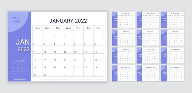 2022 calendar. layout do planejador. grade de mesa do calendário. ilustração vetorial.