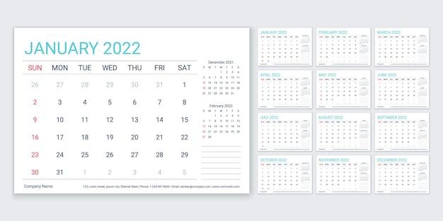 2022 calendar. planejador, modelo de calendário. a semana começa no domingo. vetor. organizador anual.