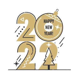 2022 cartão de feliz ano novo com números dourados e elementos de design de linha