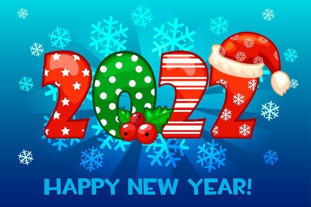 2022 cartão de feliz ano novo em flocos de neve de fundo cartaz de ilustração vetorial