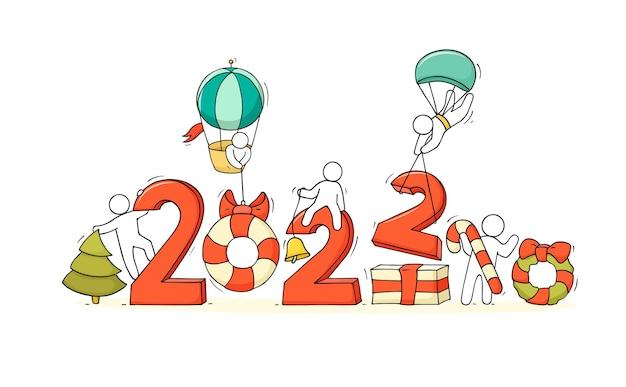 2022 cartão de feliz ano novo. ilustração do doodle dos desenhos animados com pessoas liitle, prepare-se para a celebração.