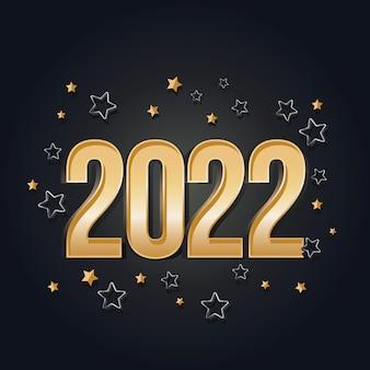 2022 cartão de feliz ano novo ouro e design de celebração preto modelo de festa de luxo dourado