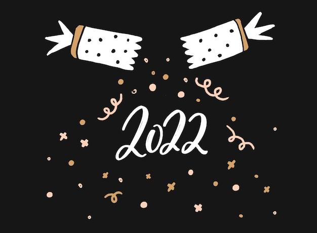 2022 design de cartão de saudação. bolacha de confete de natal e números escritos à mão. impressão vetorial horizontal preta.