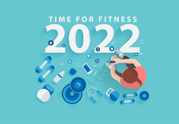 2022 feliz ano novo, ano novo para fitness no ginásio, design de conceito de ideias de estilo de vida saudável, modelo de layout moderno de ilustração vetorial