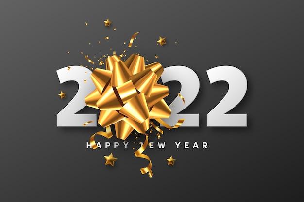 2022 feliz ano novo. arco dourado 3d com enfeites, estrelas e números brancos em preto