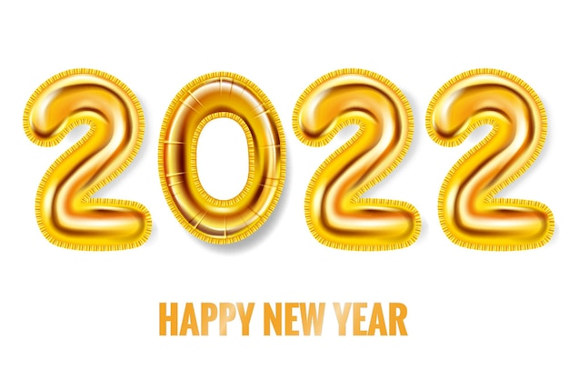 2022 feliz ano novo, balões de ouro, algarismos de folha de ouro, cartaz banner ilustração vetorial 3d