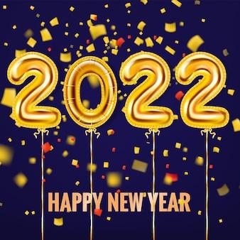 2022 feliz ano novo, balões dourados, numerais em folha de ouro e pôster de fitas de confete