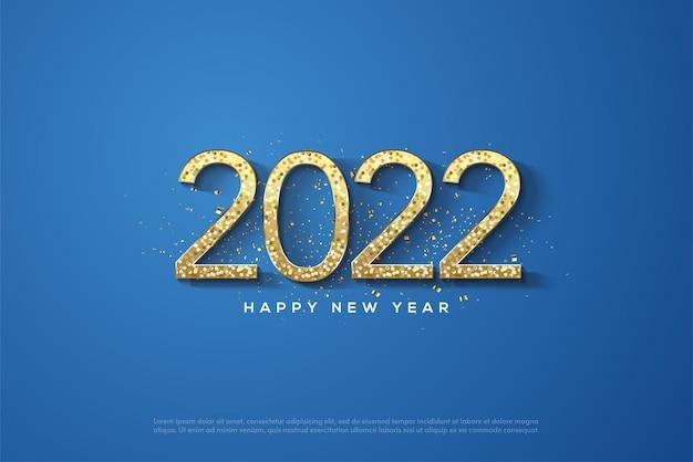 2022 feliz ano novo com números de glitter dourados sobre fundo azul