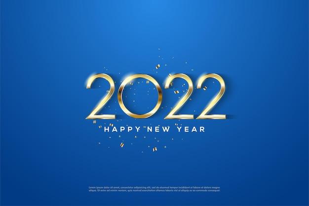 2022 feliz ano novo com números dourados sobre fundo azul