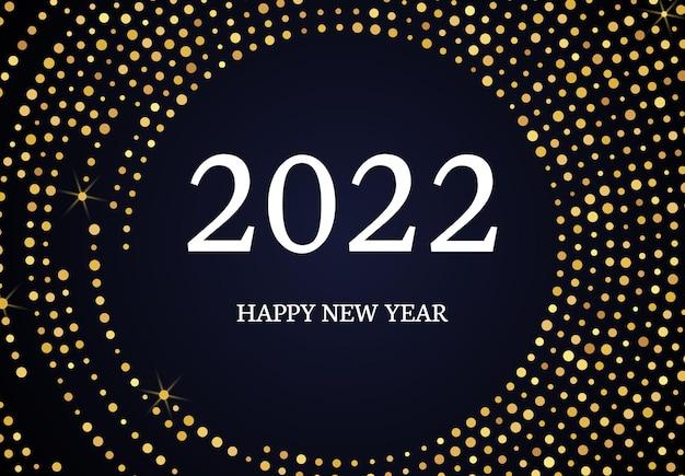 2022 feliz ano novo do padrão de glitter dourados em forma de círculo. abstrato ouro meio-tom brilhante pontilhado fundo para cartão de férias de natal em fundo escuro. ilustração vetorial