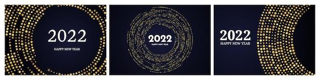 2022 feliz ano novo do padrão de glitter dourados em forma de círculo. conjunto de três fundos pontilhados de meio-tom brilhante abstrato ouro para cartão de férias de natal em fundo escuro. ilustração vetorial