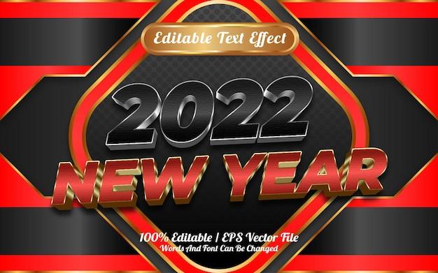 2022 feliz ano novo estilo de modelo de efeito de texto editável em 3d