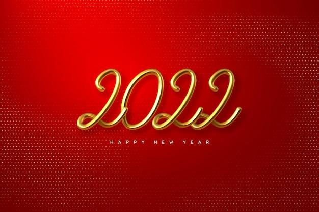 2022 feliz ano novo. mão escrevendo números metálicos dourados 2021.