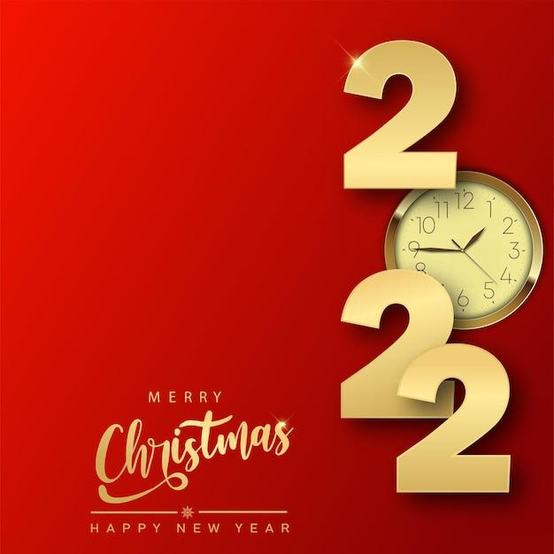 2022 feliz ano novo ou cartão de natal com relógio de ouro. vetor.