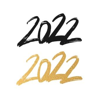 2022 feliz ano novo pincel caligrafia número isolado